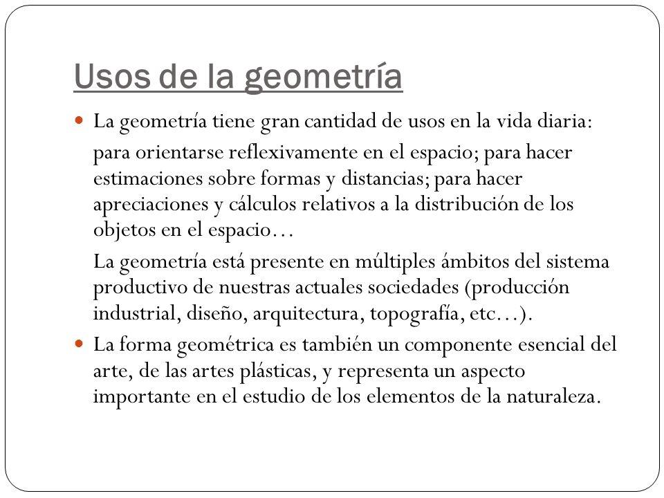 Usos de la geometría La geometría tiene gran cantidad de usos en la vida diaria: para orientarse reflexivamente en el espacio; para hacer estimaciones