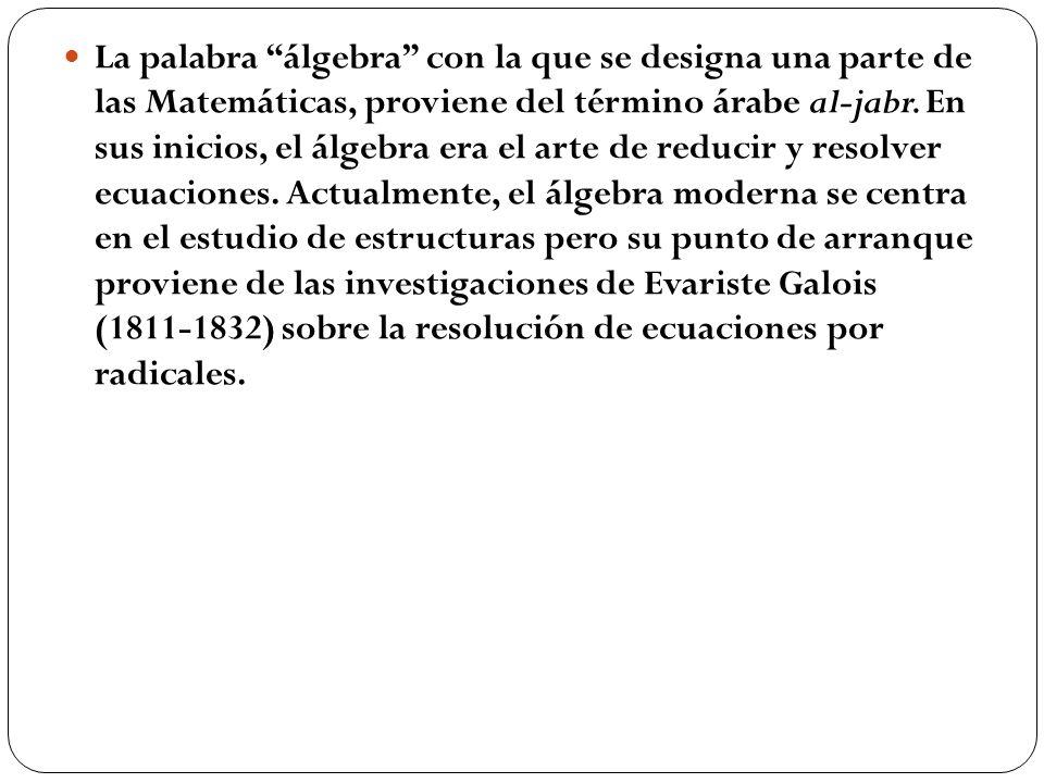 La palabra álgebra con la que se designa una parte de las Matemáticas, proviene del término árabe al-jabr. En sus inicios, el álgebra era el arte de r