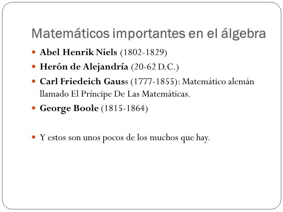 Matemáticos importantes en el álgebra Abel Henrik Niels (1802-1829) Herón de Alejandría (20-62 D.C.) Carl Friedeich Gauss (1777-1855): Matemático alem