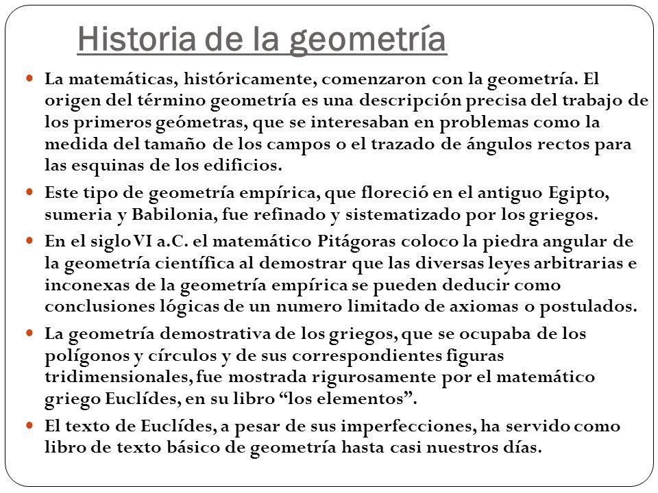 Historia de la geometría La matemáticas, históricamente, comenzaron con la geometría. El origen del término geometría es una descripción precisa del t