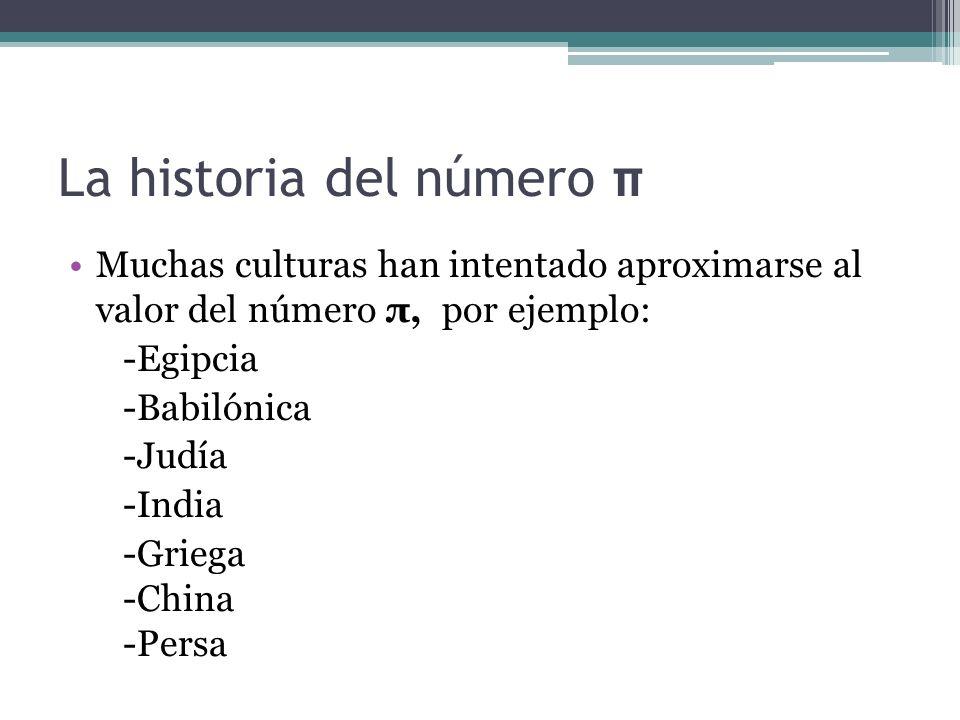 La historia del número π Muchas culturas han intentado aproximarse al valor del número π, por ejemplo: -Egipcia -Babilónica -Judía -India -Griega -Chi