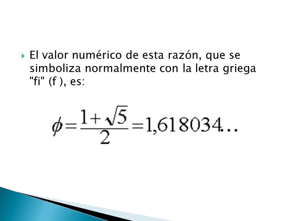 El valor numérico de esta razón, que se simboliza normalmente con la letra griega