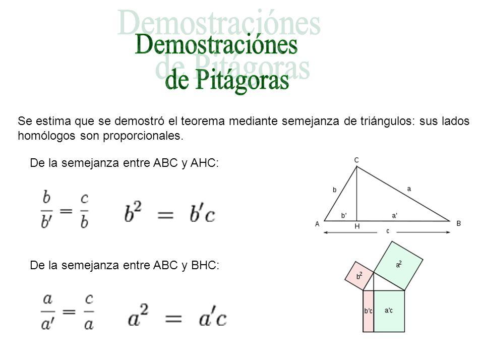 Se estima que se demostró el teorema mediante semejanza de triángulos: sus lados homólogos son proporcionales. De la semejanza entre ABC y AHC: De la