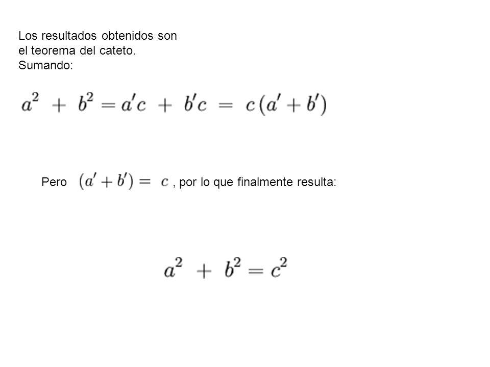 Los resultados obtenidos son el teorema del cateto. Sumando: Pero, por lo que finalmente resulta: