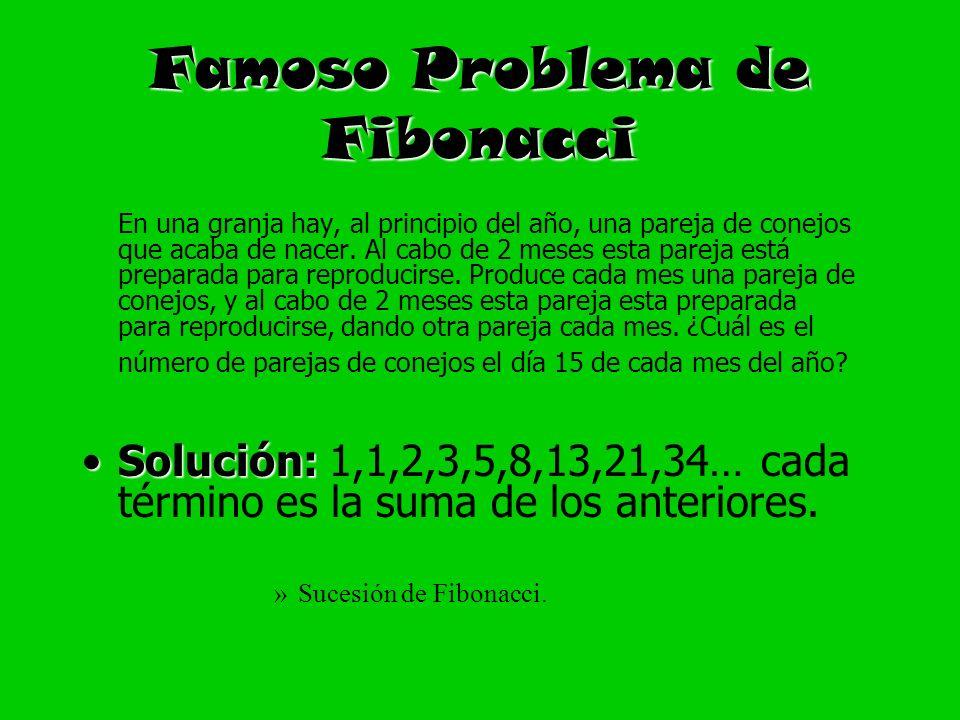 Famoso Problema de Fibonacci En una granja hay, al principio del año, una pareja de conejos que acaba de nacer. Al cabo de 2 meses esta pareja está pr