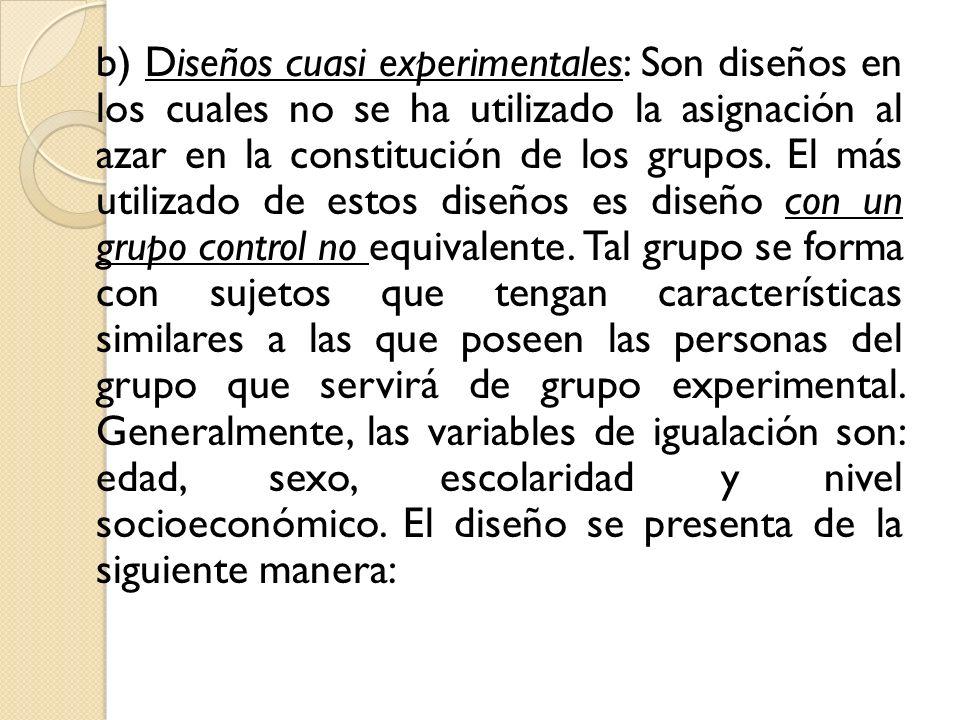 b) Diseños cuasi experimentales: Son diseños en los cuales no se ha utilizado la asignación al azar en la constitución de los grupos. El más utilizado