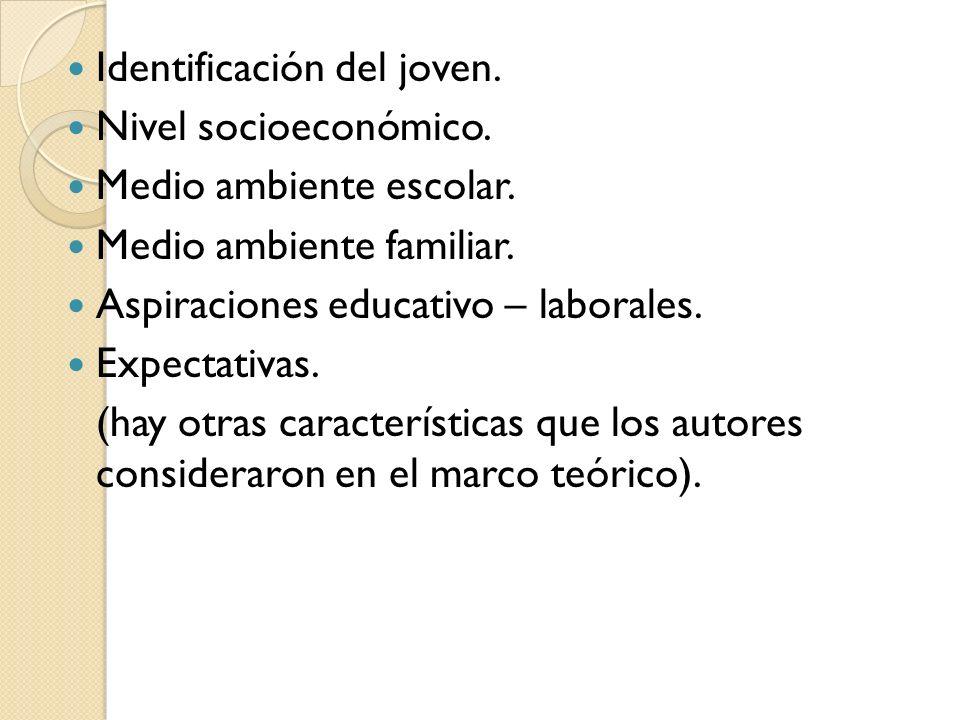 Identificación del joven. Nivel socioeconómico. Medio ambiente escolar. Medio ambiente familiar. Aspiraciones educativo – laborales. Expectativas. (ha