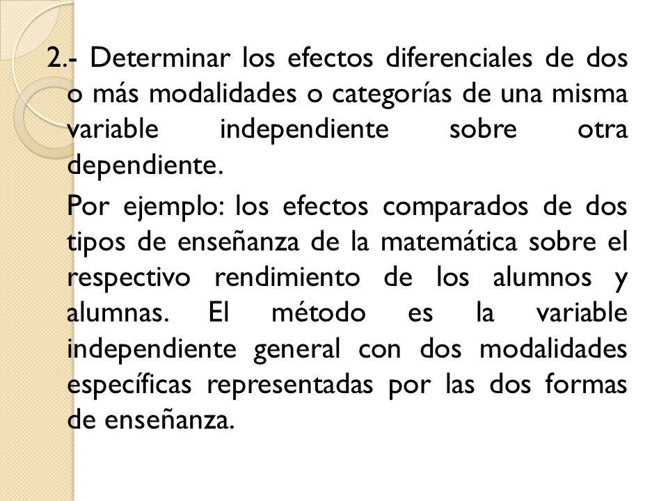 2.- Determinar los efectos diferenciales de dos o más modalidades o categorías de una misma variable independiente sobre otra dependiente. Por ejemplo