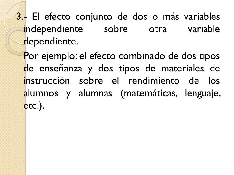 3.- El efecto conjunto de dos o más variables independiente sobre otra variable dependiente. Por ejemplo: el efecto combinado de dos tipos de enseñanz