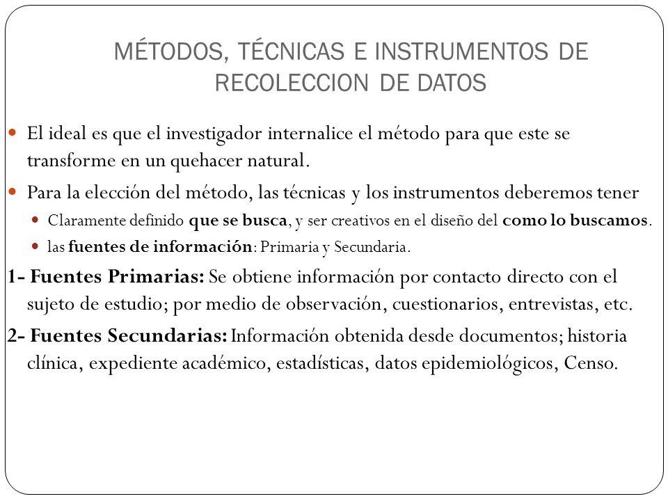 MÉTODOS, TÉCNICAS E INSTRUMENTOS DE RECOLECCION DE DATOS El ideal es que el investigador internalice el método para que este se transforme en un quehacer natural.