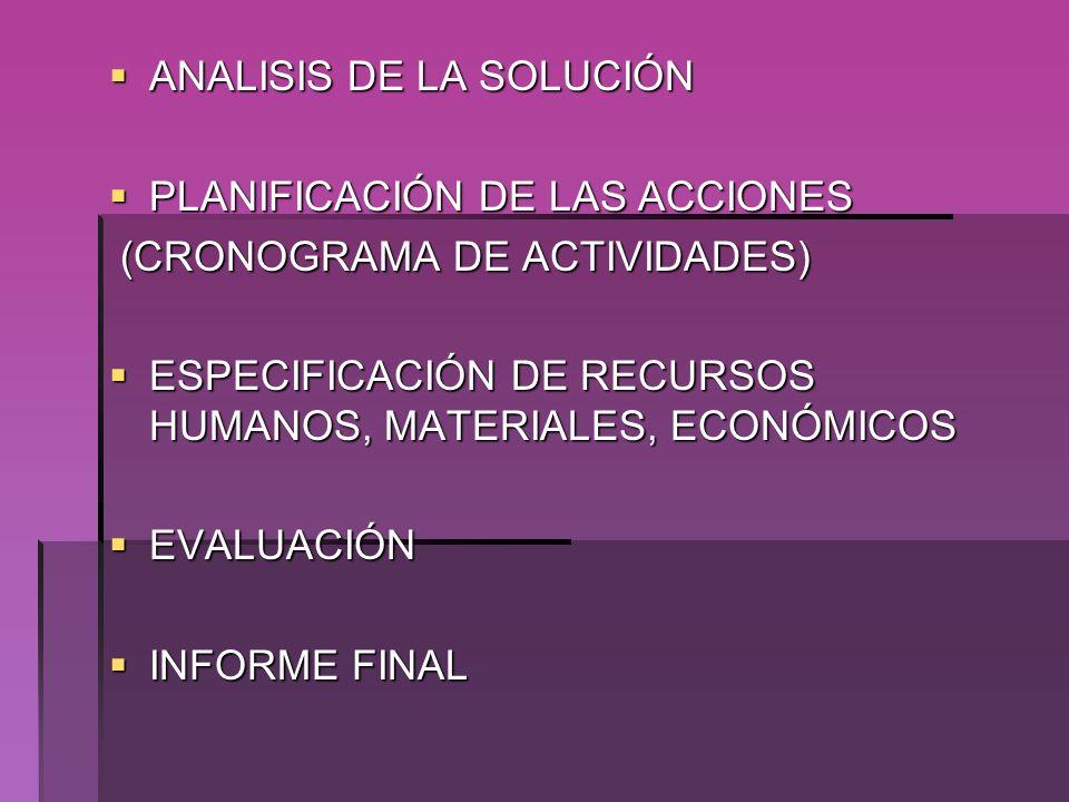 ANALISIS DE LA SOLUCIÓN ANALISIS DE LA SOLUCIÓN PLANIFICACIÓN DE LAS ACCIONES PLANIFICACIÓN DE LAS ACCIONES (CRONOGRAMA DE ACTIVIDADES) (CRONOGRAMA DE