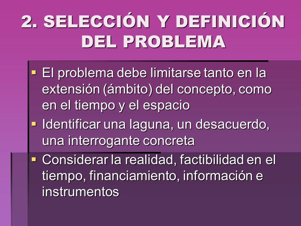 2. SELECCIÓN Y DEFINICIÓN DEL PROBLEMA El problema debe limitarse tanto en la extensión (ámbito) del concepto, como en el tiempo y el espacio El probl