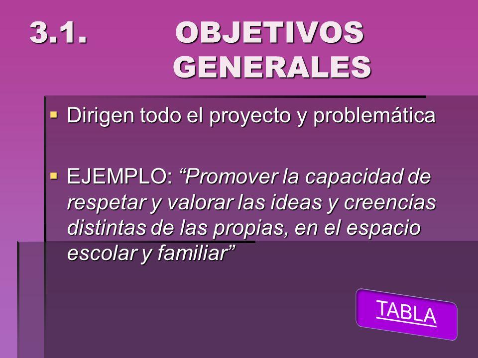 3.1. OBJETIVOS GENERALES Dirigen todo el proyecto y problemática Dirigen todo el proyecto y problemática EJEMPLO: Promover la capacidad de respetar y