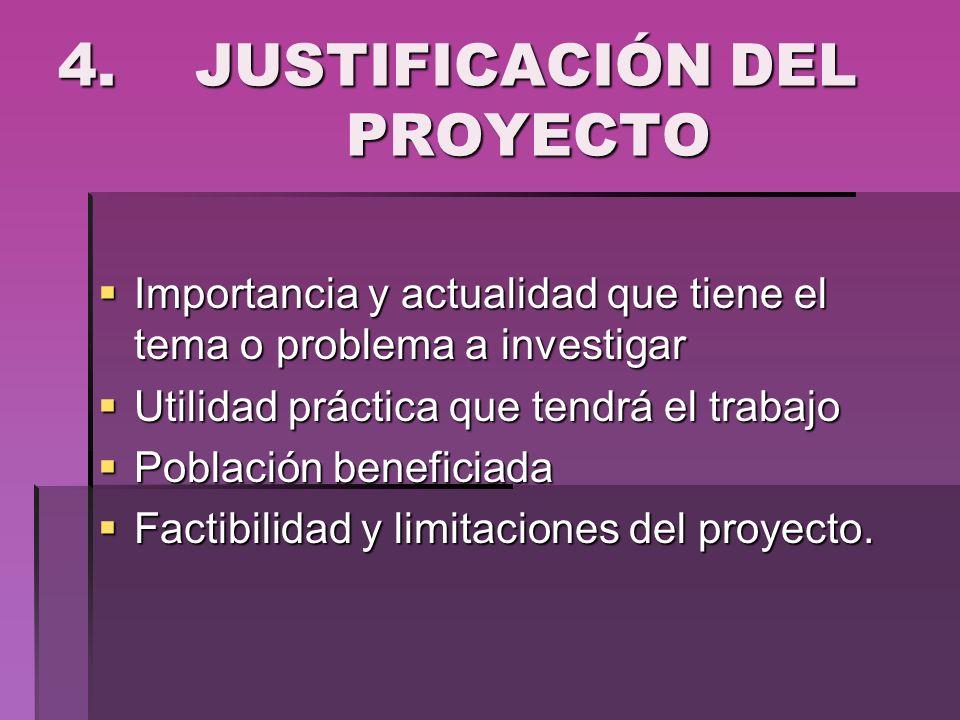 4. JUSTIFICACIÓN DEL PROYECTO Importancia y actualidad que tiene el tema o problema a investigar Importancia y actualidad que tiene el tema o problema