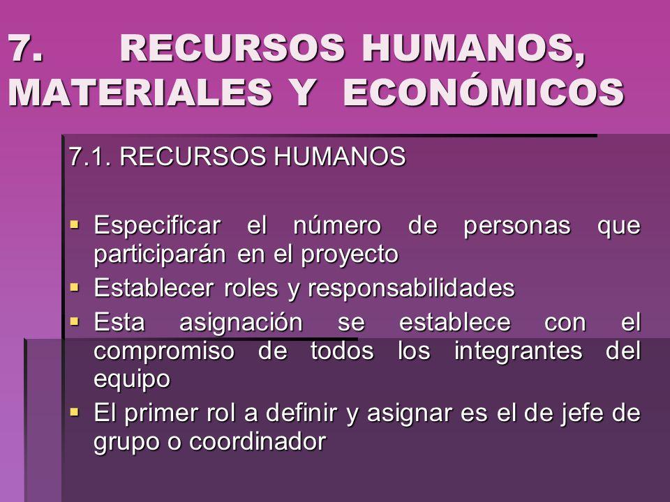 7. RECURSOS HUMANOS, MATERIALES Y ECONÓMICOS 7.1. RECURSOS HUMANOS Especificar el número de personas que participarán en el proyecto Especificar el nú