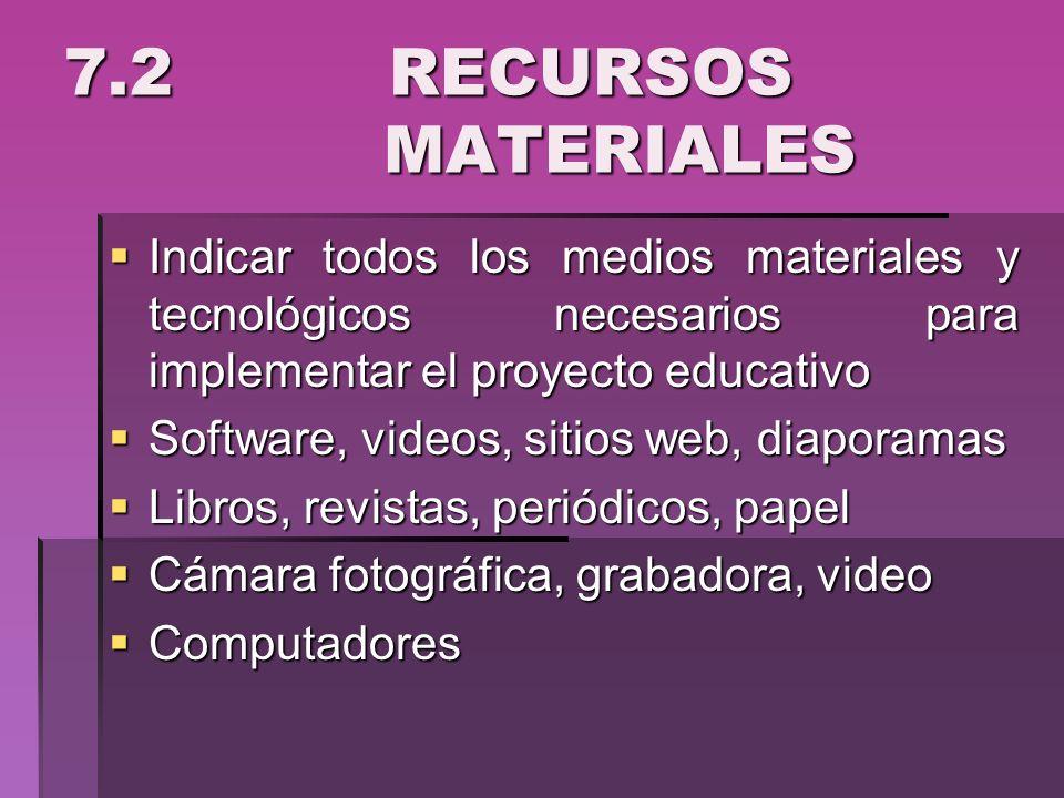 7.2 RECURSOS MATERIALES Indicar todos los medios materiales y tecnológicos necesarios para implementar el proyecto educativo Indicar todos los medios