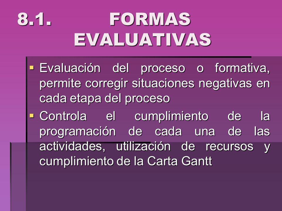8.1. FORMAS EVALUATIVAS Evaluación del proceso o formativa, permite corregir situaciones negativas en cada etapa del proceso Evaluación del proceso o