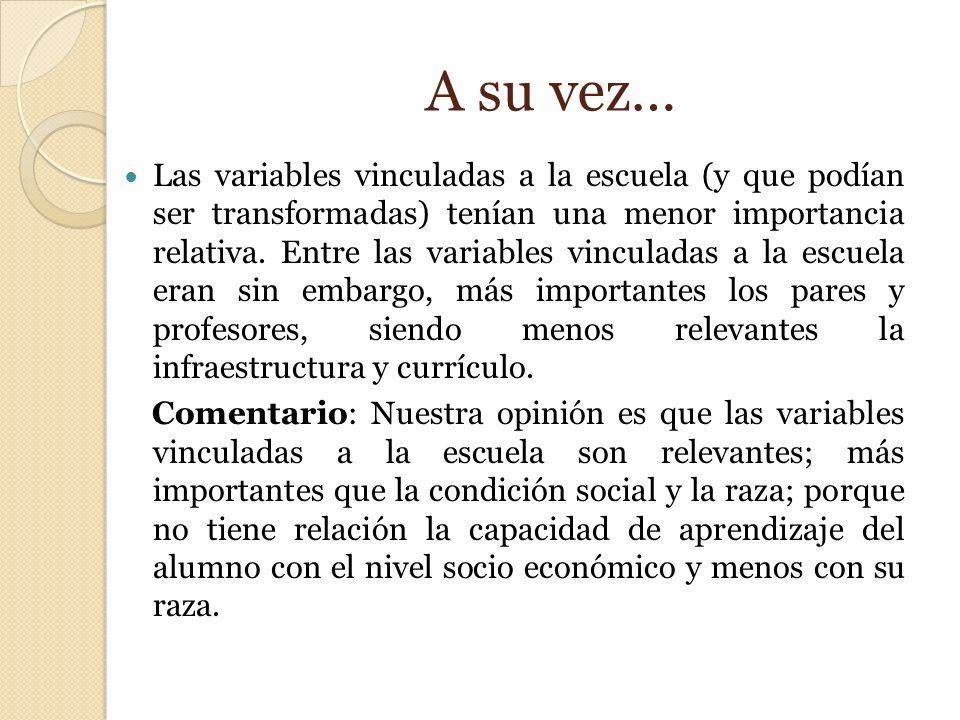 A su vez… Las variables vinculadas a la escuela (y que podían ser transformadas) tenían una menor importancia relativa. Entre las variables vinculadas