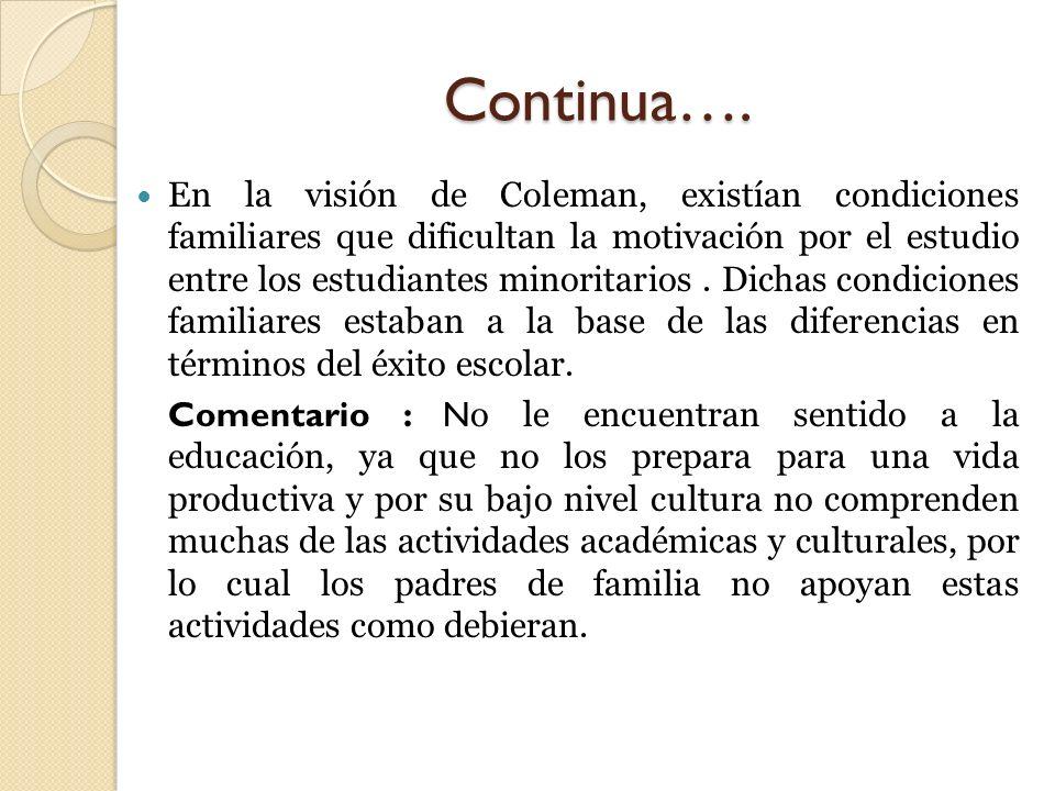 Continua…. En la visión de Coleman, existían condiciones familiares que dificultan la motivación por el estudio entre los estudiantes minoritarios. Di