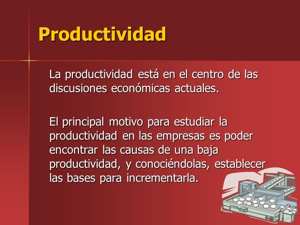 Productividad La productividad está en el centro de las discusiones económicas actuales. El principal motivo para estudiar la productividad en las emp