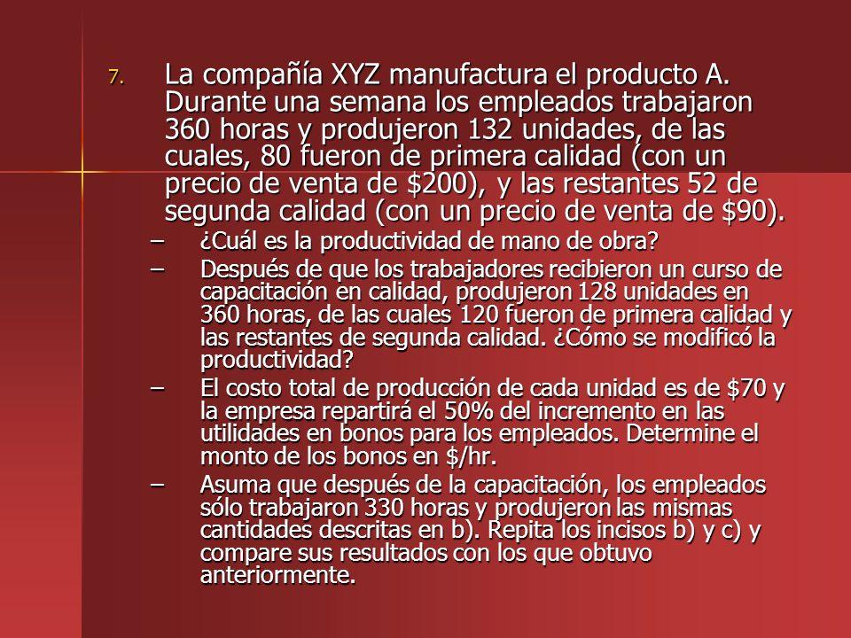 7. La compañía XYZ manufactura el producto A. Durante una semana los empleados trabajaron 360 horas y produjeron 132 unidades, de las cuales, 80 fuero