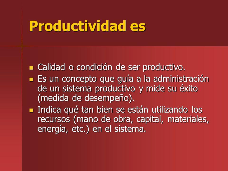 Un índice de productividad puede ser determinar a través de la siguiente relación básica: SalidasInsumos Productividad = Salidas Insumos Proceso