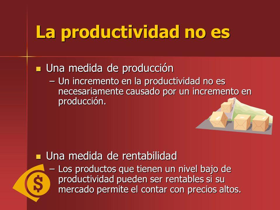La productividad no es Una medida de producción Una medida de producción –Un incremento en la productividad no es necesariamente causado por un increm