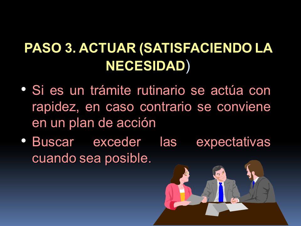 PASO 3. ACTUAR (SATISFACIENDO LA NECESIDAD ) Si es un trámite rutinario se actúa con rapidez, en caso contrario se conviene en un plan de acción Si es