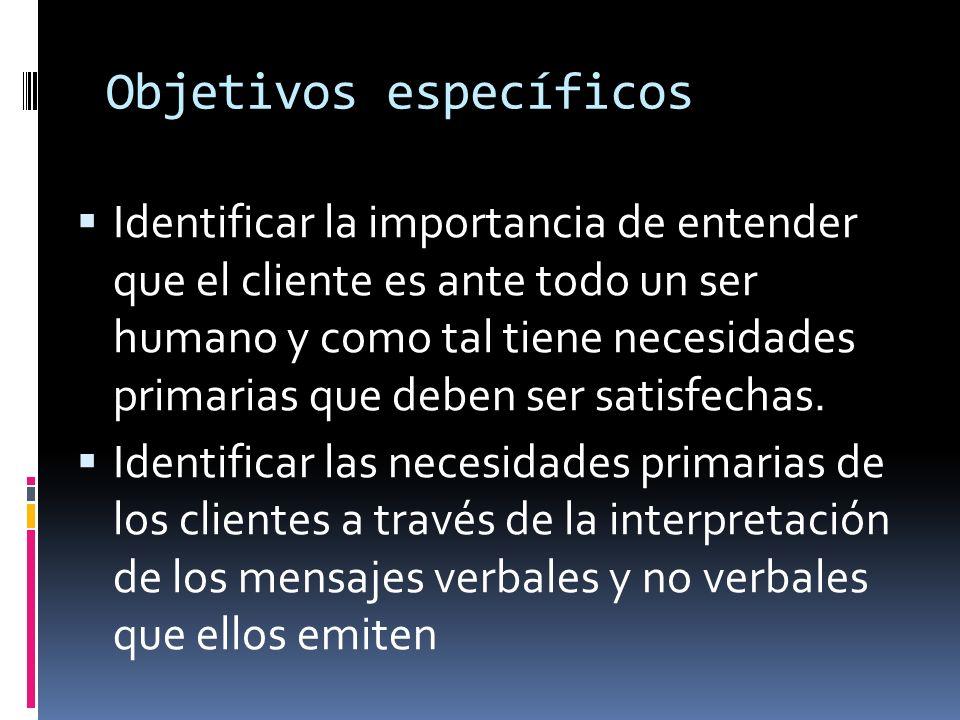Objetivos específicos Identificar la importancia de entender que el cliente es ante todo un ser humano y como tal tiene necesidades primarias que debe