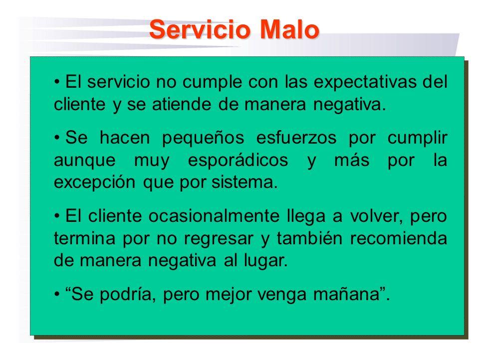 Servicio Malo El servicio no cumple con las expectativas del cliente y se atiende de manera negativa. Se hacen pequeños esfuerzos por cumplir aunque m