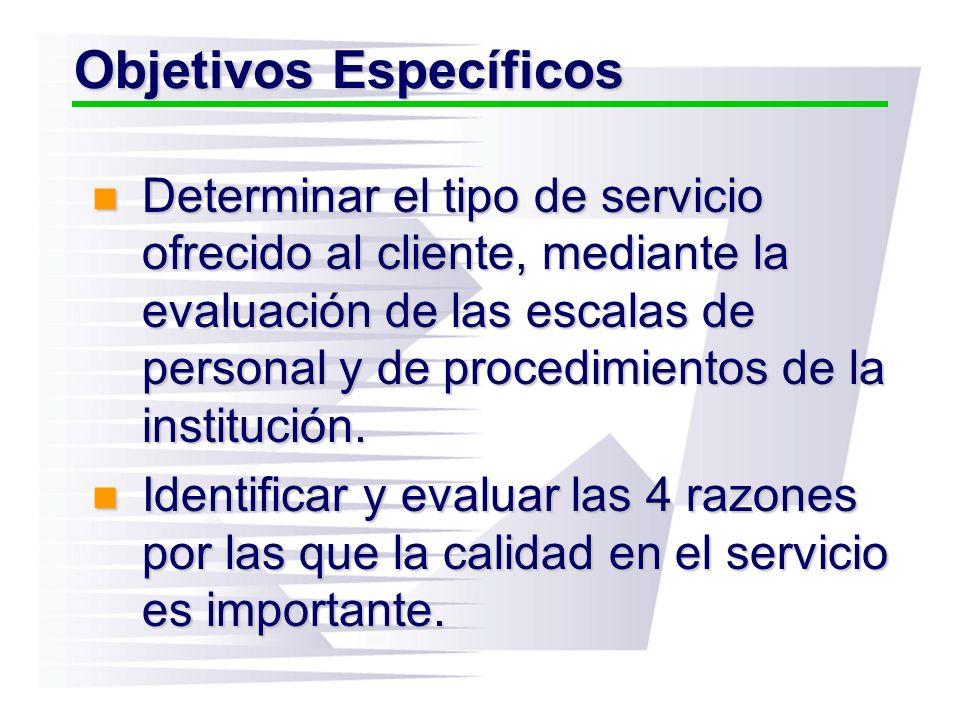 Objetivos Específicos Determinar el tipo de servicio ofrecido al cliente, mediante la evaluación de las escalas de personal y de procedimientos de la