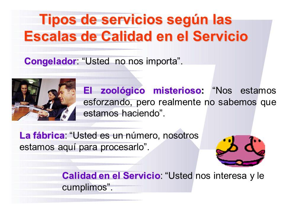 Tipos de servicios según las Escalas de Calidad en el Servicio Calidad en el Servicio Calidad en el Servicio: Usted nos interesa y le cumplimos. Conge