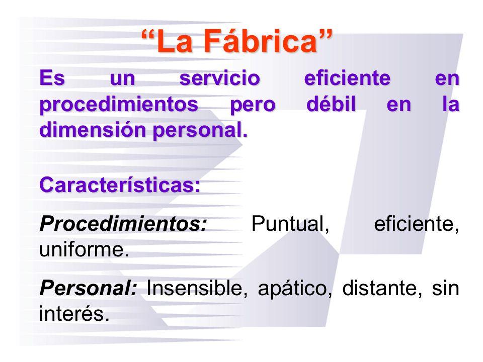 La Fábrica Es un servicio eficiente en procedimientos pero débil en la dimensión personal. Características: Procedimientos: Puntual, eficiente, unifor