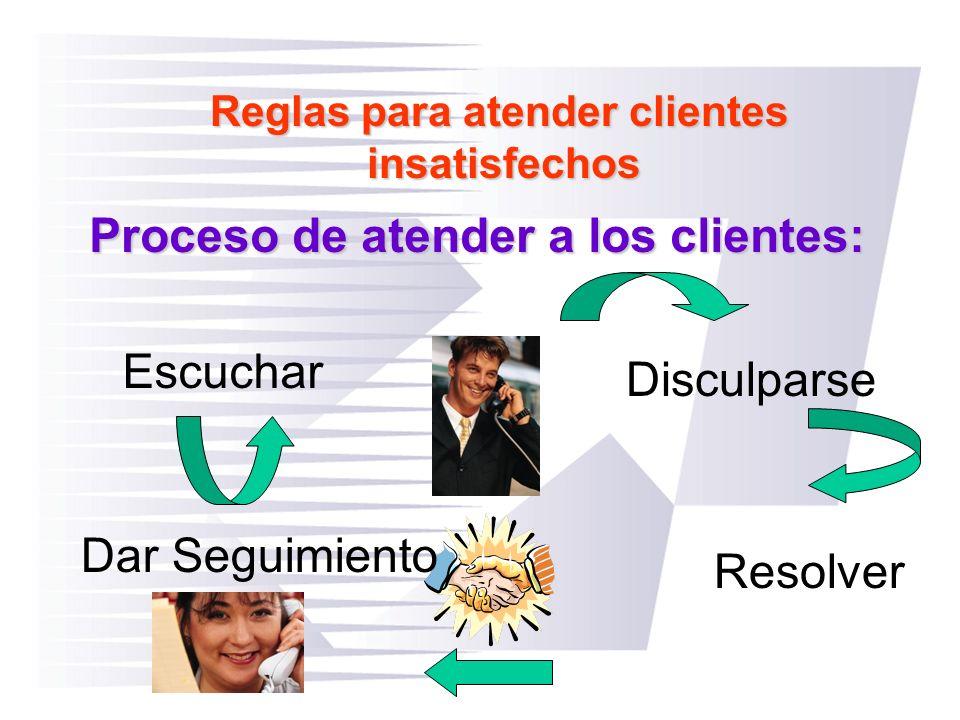 Reglas para atender clientes insatisfechos Proceso de atender a los clientes: Escuchar Dar Seguimiento Resolver Disculparse