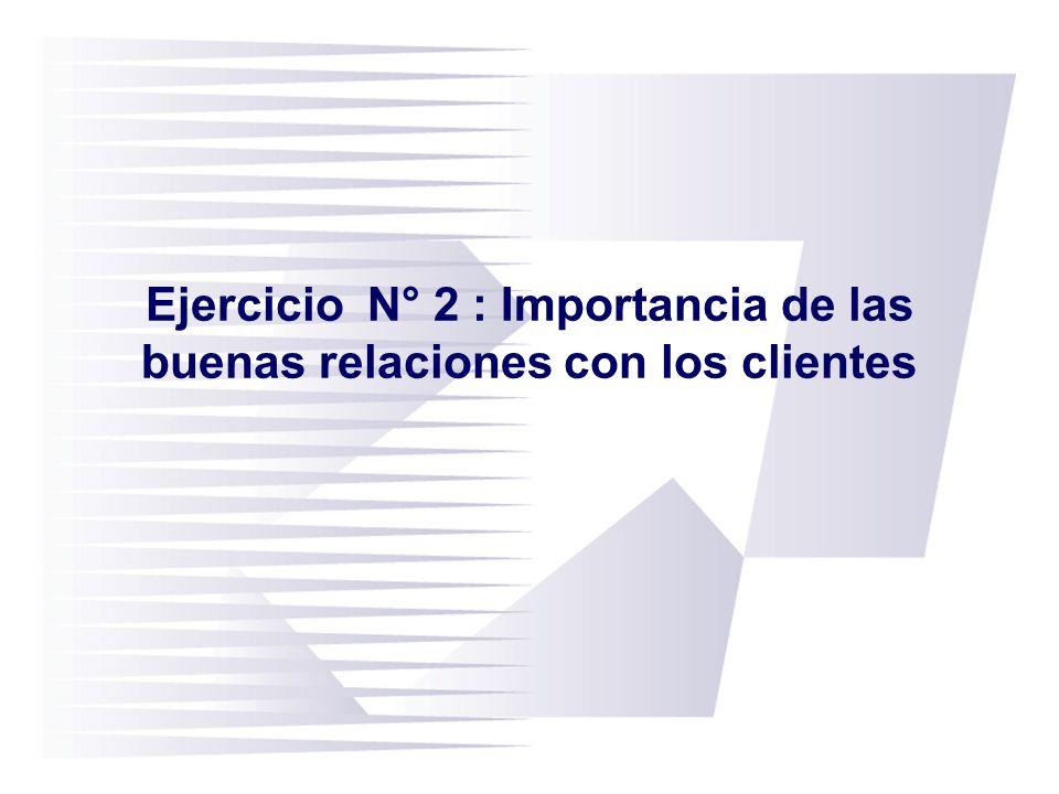 Ejercicio N° 2 : Importancia de las buenas relaciones con los clientes