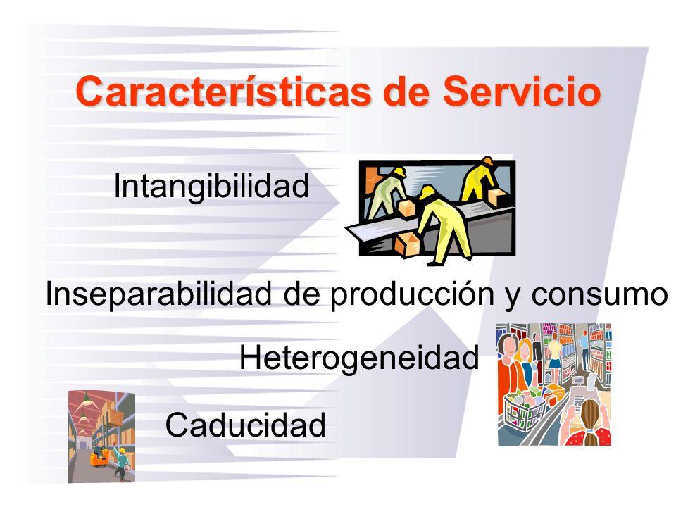 Características de Servicio Inseparabilidad de producción y consumo Caducidad Heterogeneidad Intangibilidad
