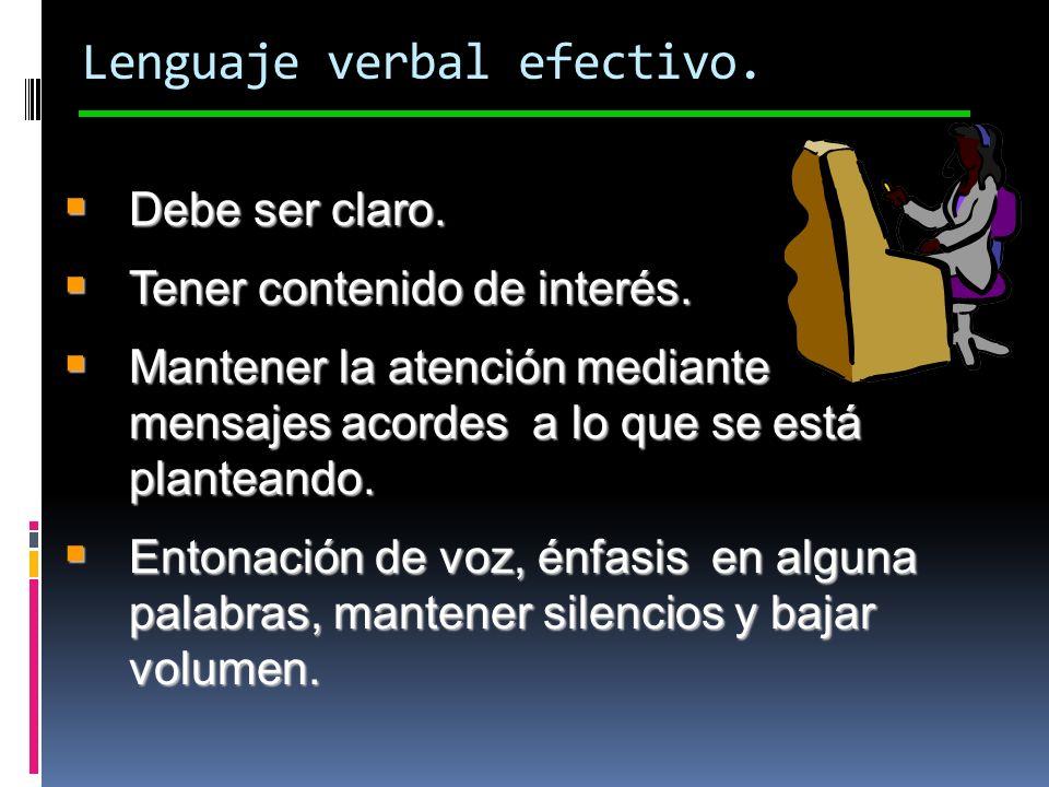 Lenguaje verbal efectivo. Debe ser claro. Debe ser claro. Tener contenido de interés. Tener contenido de interés. Mantener la atención mediante mensaj