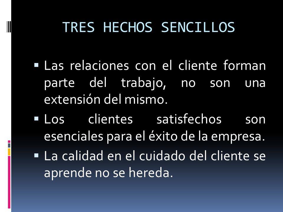 TRES HECHOS SENCILLOS Las relaciones con el cliente forman parte del trabajo, no son una extensión del mismo. Los clientes satisfechos son esenciales