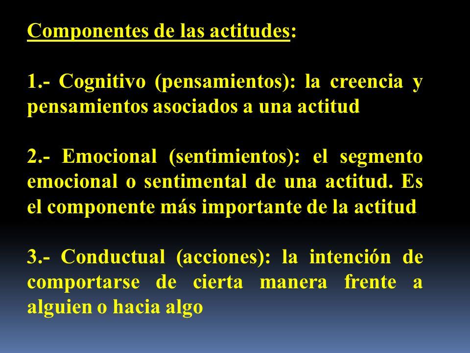 Componentes de las actitudes: 1.- Cognitivo (pensamientos): la creencia y pensamientos asociados a una actitud 2.- Emocional (sentimientos): el segmen