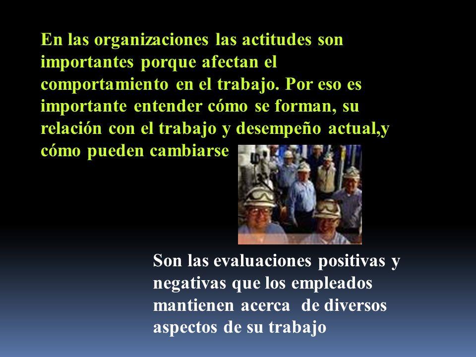 En las organizaciones las actitudes son importantes porque afectan el comportamiento en el trabajo. Por eso es importante entender cómo se forman, su