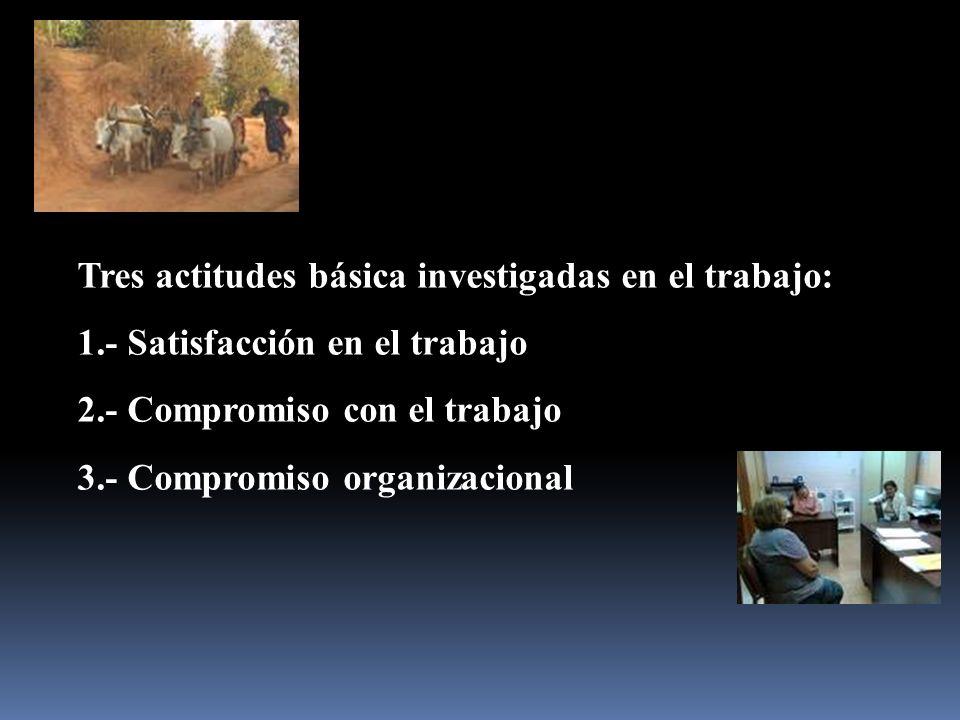Tres actitudes básica investigadas en el trabajo: 1.- Satisfacción en el trabajo 2.- Compromiso con el trabajo 3.- Compromiso organizacional
