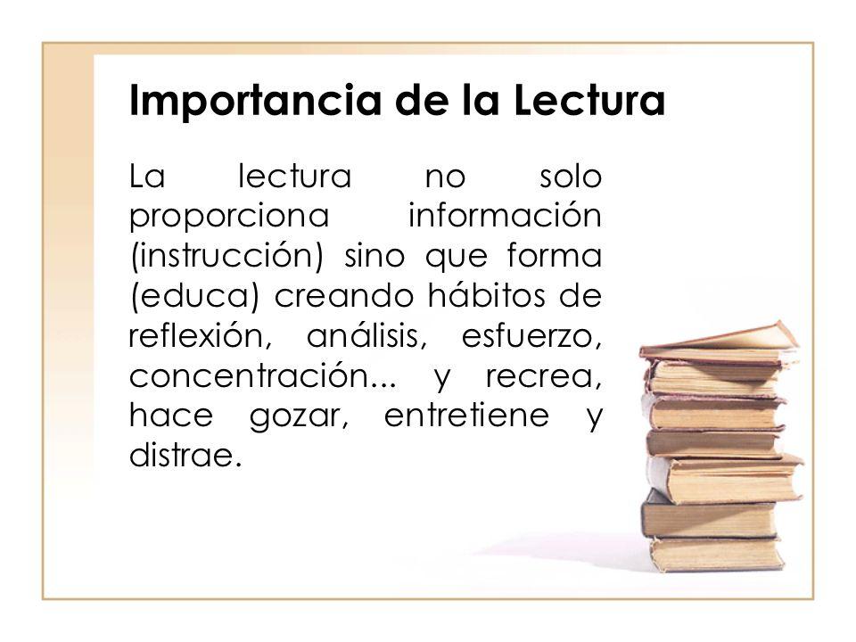 Importancia de la Lectura La lectura no solo proporciona información (instrucción) sino que forma (educa) creando hábitos de reflexión, análisis, esfu