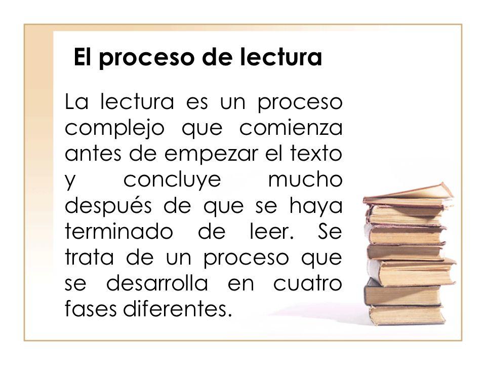 El proceso de lectura La lectura es un proceso complejo que comienza antes de empezar el texto y concluye mucho después de que se haya terminado de le