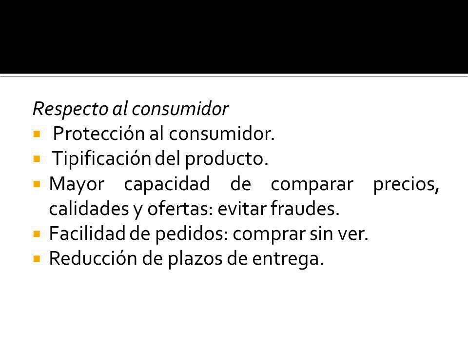 Respecto al consumidor Protección al consumidor. Tipificación del producto. Mayor capacidad de comparar precios, calidades y ofertas: evitar fraudes.
