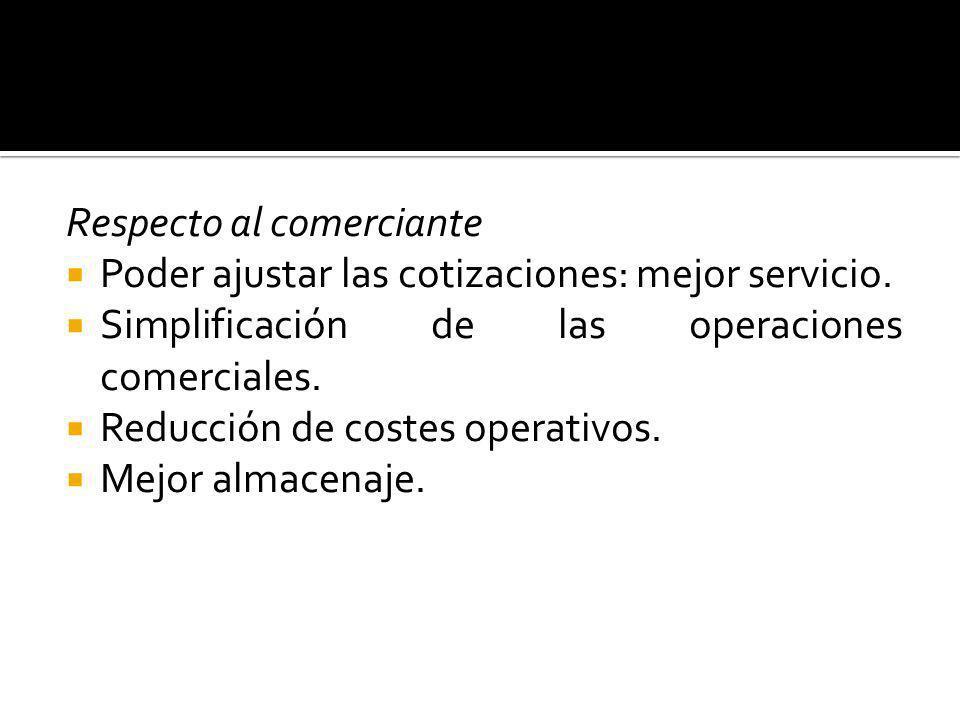 Respecto al comerciante Poder ajustar las cotizaciones: mejor servicio. Simplificación de las operaciones comerciales. Reducción de costes operativos.