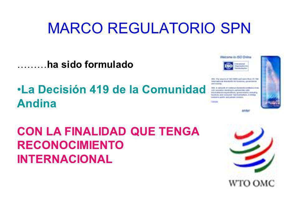 MARCO REGULATORIO SPN ………ha sido formulado La Decisión 419 de la Comunidad Andina CON LA FINALIDAD QUE TENGA RECONOCIMIENTO INTERNACIONAL