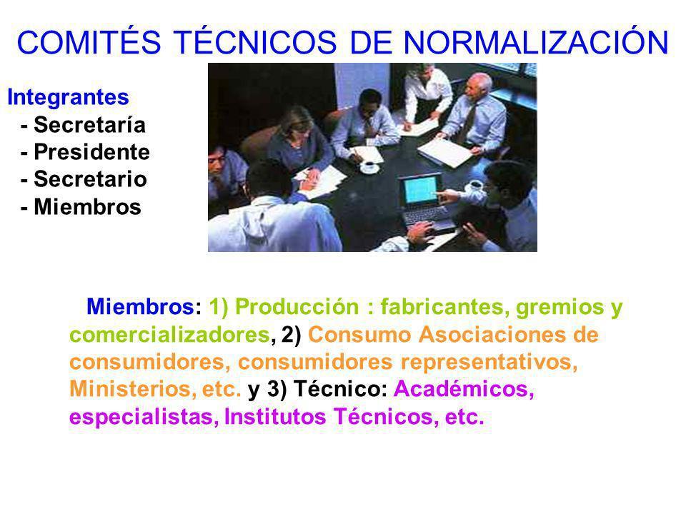 COMITÉS TÉCNICOS DE NORMALIZACIÓN Integrantes - Secretaría - Presidente - Secretario - Miembros Miembros: 1) Producción : fabricantes, gremios y comer