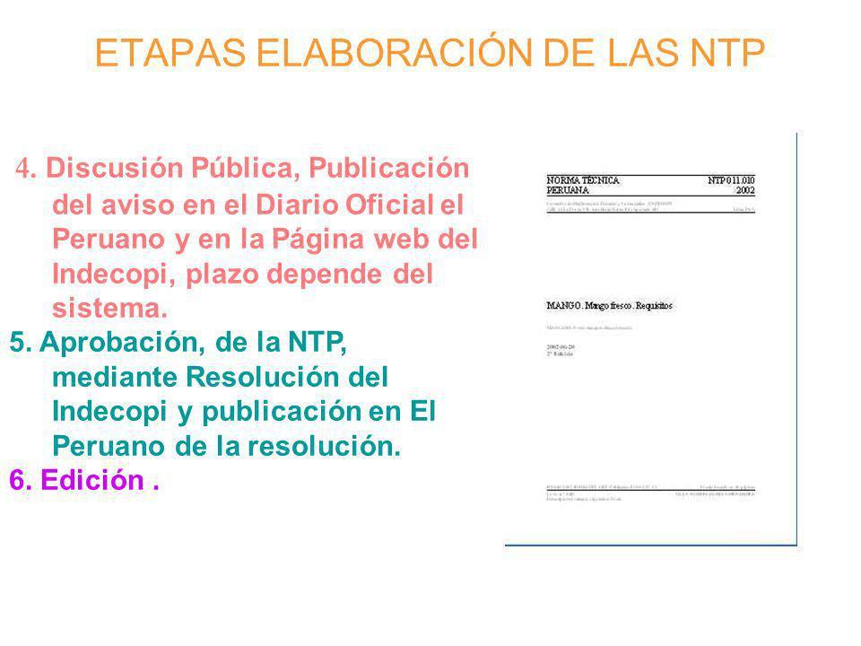 ETAPAS ELABORACIÓN DE LAS NTP 4. Discusión Pública, Publicación del aviso en el Diario Oficial el Peruano y en la Página web del Indecopi, plazo depen