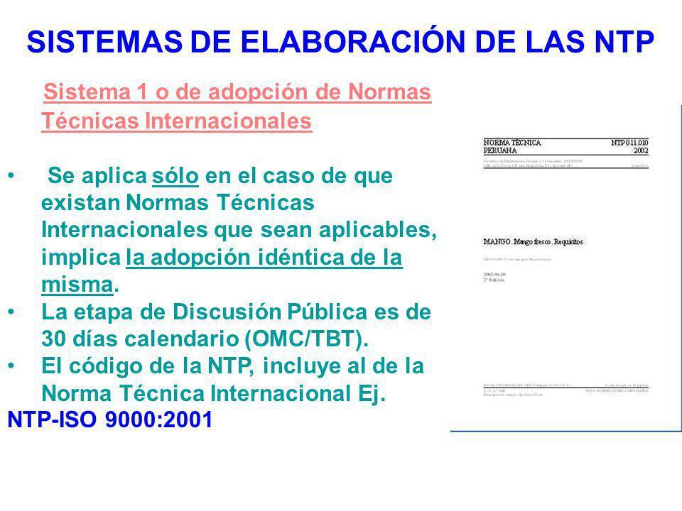 SISTEMAS DE ELABORACIÓN DE LAS NTP Sistema 1 o de adopción de Normas Técnicas Internacionales Se aplica sólo en el caso de que existan Normas Técnicas