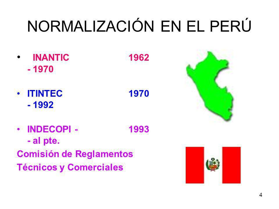 4 NORMALIZACIÓN EN EL PERÚ INANTIC1962 - 1970 ITINTEC1970 - 1992 INDECOPI - 1993 - al pte. Comisión de Reglamentos Técnicos y Comerciales